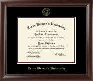Texas Woman's University Diploma Frame - Gold Embossed Diploma Frame in Rainier