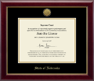 State of Nebraska Certificate Frame - Gold Engraved Medallion Certificate Frame in Gallery