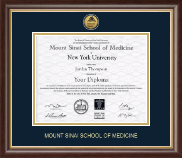 Mount Sinai School of Medicine Diploma Frame - Gold Engraved Medallion Diploma Frame in Hampshire
