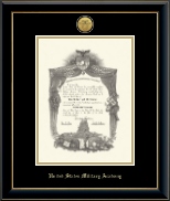 United States Military Academy Diploma Frame - Gold Engraved Medallion Diploma Frame in Onyx Gold