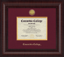 Concordia College Moorhead Diploma Frame - Presidential Gold Engraved Diploma Frame in Premier