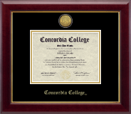 Concordia College Moorhead Diploma Frame - Gold Engraved Medallion Diploma Frame in Gallery