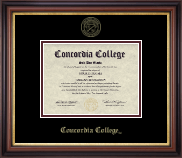 Concordia College Moorhead Diploma Frame - Gold Embossed Diploma Frame in Regency Gold