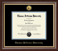 Thomas Jefferson University Diploma Frame - Gold Engraved Seal Medallion Diploma Frame in Hampshire