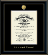 University of Missouri Columbia Diploma Frame - 23K Medallion Diploma Frame in Onyx Gold