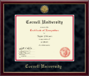 Cornell University Certificate Frame - Gold Engraved Medallion Certificate Frame in Galleria