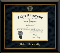 Baker University Diploma Frame - Gold Embossed Diploma Frame in Onyx Gold