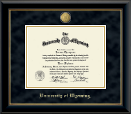 University of Wyoming Diploma Frame - 23K Medallion Diploma Frame in Onyx Gold