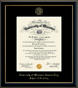 University of Missouri Kansas City Diploma Frame - Gold Embossed Diploma Frame in Onyx Gold