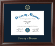 University of Delaware Diploma Frame - Gold Embossed Diploma Frame in Rainier