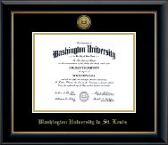 Washington University in St. Louis Diploma Frame - Gold Engraved Medallion Diploma Frame in Onyx Gold
