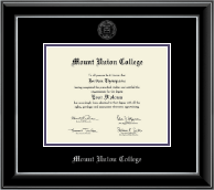 Mount Union College Diploma Frame - Silver Embossed Diploma Frame in Onyx Silver