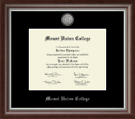 Mount Union College Diploma Frame - Silver Engraved Medallion Diploma Frame in Devonshire