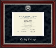 Colby College Diploma Frame - Silver Engraved Medallion Diploma Frame in Kensington Silver