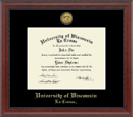 University of Wisconsin La Crosse Diploma Frame - Gold Engraved Medallion Diploma Frame in Signature