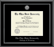 The Ohio State University Diploma Frame - Silver Engraved Medallion Diploma Frame in Onyx Silver