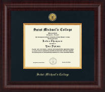 Saint Michael's College Diploma Frame - Presidential Gold Engraved Diploma Frame in Premier