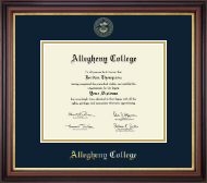 Allegheny College Diploma Frame - Gold Embossed Diploma Frame in Regency Gold