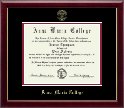 Anna Maria College Diploma Frame - Gold Embossed Diploma Frame in Gallery
