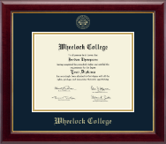 Wheelock College Diploma Frame - Gold Embossed Diploma Frame in Gallery