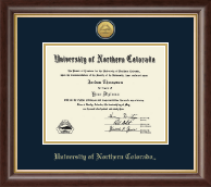 University of Northern Colorado Diploma Frame - Gold Engraved Medallion Diploma Frame in Hampshire