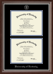 University of Kentucky Diploma Frame - Silver Embossed Double Diploma Frame in Devonshire