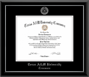 Texas A&M University - Commerce Diploma Frame - Silver Embossed Diploma Frame in Onyx Silver