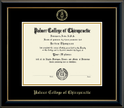 Palmer College of Chiropractic Iowa Diploma Frame - Gold Embossed Diploma Frame in Onyx Gold