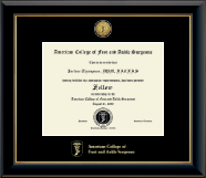 American College of Foot and Ankle Surgeons Certificate Frame - Gold Engraved Certificate Frame in Onyx Gold
