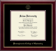 Pennsylvania College of Optometry Diploma Frame - Gold Embossed Diploma Frame - College of Optometry in Gallery