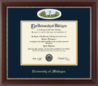 The University of Michigan Diploma Frame - Burton Memorial Tower Campus Cameo Diploma Frame in Chateau
