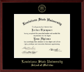 Louisiana State University School of Medicine Diploma Frame - Gold Embossed Diploma Frame in Camby