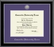 Concordia University Texas Diploma Frame - Silver Engraved Medallion Diploma Frame in Onyx Silver