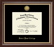 Saint Paul College Diploma Frame - Gold Engraved Medallion Diploma Frame in Hampshire