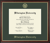 Wilmington University Diploma Frame - Gold Embossed Diploma Frame in Studio Gold