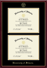University of Illinois Diploma Frame - Gold Embossed Double Diploma Frame in Galleria