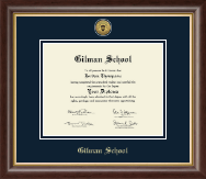 Gilman School Diploma Frame - Gold Engraved Medallion Diploma Frame in Hampshire