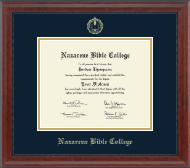 Nazarene Bible College Diploma Frame - Gold Embossed Diploma Frame in Signature
