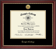 Temple College Diploma Frame - Gold Engraved Medallion Diploma Frame in Kensington Gold