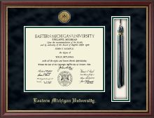 Eastern Michigan University Diploma Frame - Gold Engraved Medallion Tassel Diploma Frame in Newport