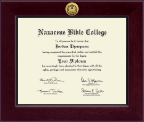 Nazarene Bible College Diploma Frame - Century Gold Engraved Diploma Frame in Cordova