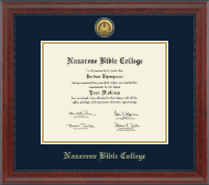 Nazarene Bible College Diploma Frame - Gold Engraved Diploma Frame in Signature