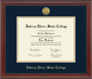 Indian River State College Diploma Frame - Gold Engraved Medallion Diploma Frame in Signature