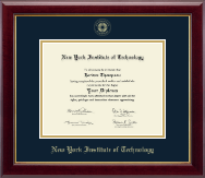 New York Institute of Technology Diploma Frame - Gold Embossed Diploma Frame in Gallery