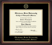 Oklahoma State University College of Osteopathic Medicine Diploma Frame - Gold Embossed Diploma Frame in Regency Gold