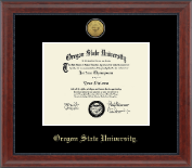 Oregon State University Diploma Frame - Gold Engraved Medallion in Signature