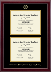 California State University Long Beach Diploma Frame - Gold Embossed Double Diploma Frame in Gallery