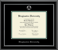 Binghamton University - State of New York Diploma Frame - Silver Embossed Diploma Frame in Onyx Silver