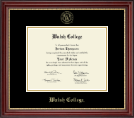 Walsh College Diploma Frame - Gold Embossed Diploma Frame in Kensington Gold