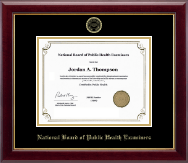 National Board of Public Health Examiners Certificate Frame - Gold Embossed Certificate Frame in Gallery